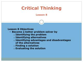 Critical Thinking Lesson 8