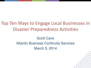 Top Ten Ways to Engage Local Businesses in Disaster Preparedness Activities