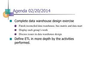 Agenda 02/20/2014