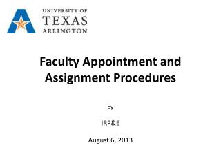 Faculty Appointment and Assignment Procedures