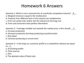 Homework 6 Answers