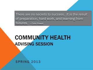 Community Health  Advising Session