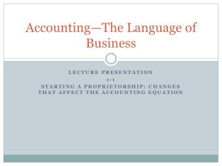 Accounting—The Language of Business