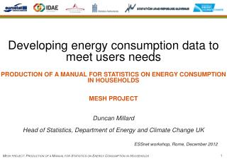 Developing energy consumption data to meet users needs PRODUCTION  OF A MANUAL FOR STATISTICS ON ENERGY CONSUMPTION IN