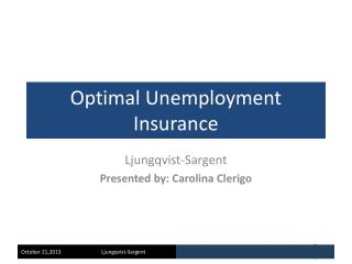 Optimal Unemployment Insurance