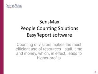 SensMax  People Counting Solutions EasyReport software