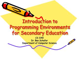 Introduction to Programming Environments for Secondary Education