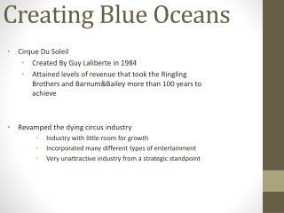 Creating Blue Oceans