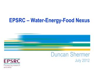 EPSRC � Water-Energy-Food Nexus