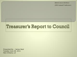 Treasurer�s Report to Council