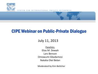 CIPE Webinar on Public-Private  Dialogue