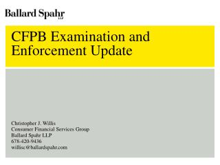 CFPB Examination and Enforcement Update