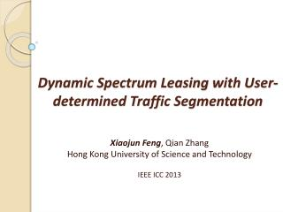 Dynamic Spectrum Leasing  with User-determined Traffic Segmentation