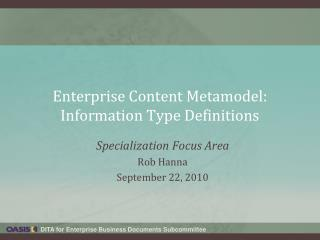 Enterprise Content Metamodel: Information Type Definitions