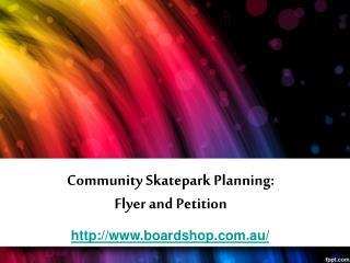 community skatepark planning: flyer and petition