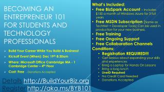 Becoming an Entrepreneur 101 for Students and Technology Professionals