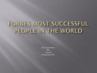 Forbes Most Successful People In The World