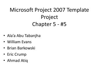 Microsoft Project 2007 Template  Project Chapter 5 - #5