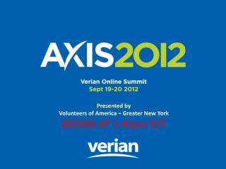 Presented by  Volunteers of America – Greater New York BEGINS AT 1:45pm EST