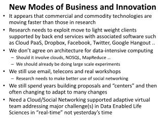 New Modes of Business and Innovation