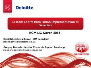 HCM SIG March 2014