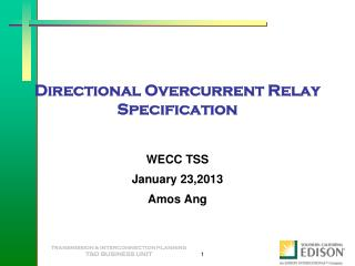 Directional Overcurrent Relay Specification