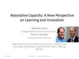 Absorptive Capacity:  A New  Perspective             on  Learning  and Innovation