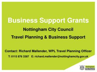 Business Support Grants Nottingham City Council  Travel Planning & Business Support