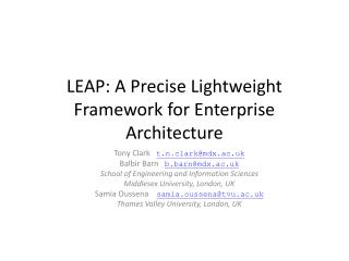 LEAP: A Precise Lightweight Framework for Enterprise Architecture