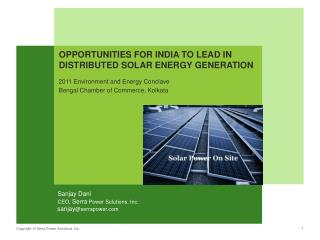 Opportunities for India to Lead in Distributed Solar Energy Generation