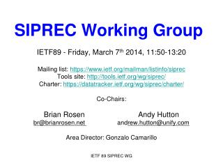 SIPREC Working Group