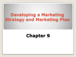 Developing a Marketing  Strategy and Marketing Plan