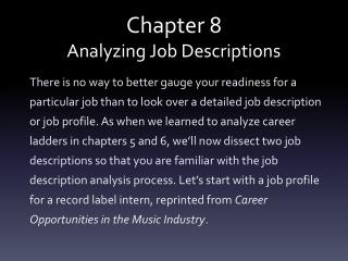 Chapter 8 Analyzing Job Descriptions