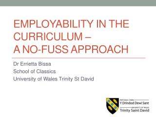 Employability in the curriculum  –  a no-fuss approach