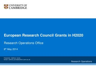 European Research Council Grants in H2020