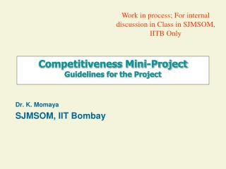 Competitiveness Mini-Project  Guidelines for  the Project