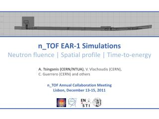 n_TOF EAR-1 Simulations Neutron  fluence  | Spatial profile | Time-to-energy
