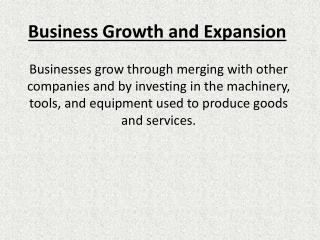 Business Growth and Expansion