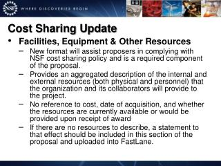 Cost Sharing Update
