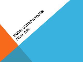 Model united nations- final tips