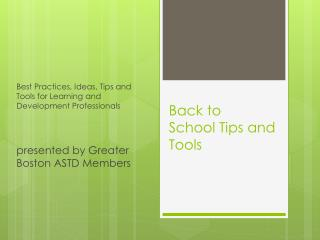 Back to  School Tips and Tools