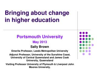Bringing about change in higher education