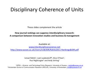 Disciplinary Coherence of Units