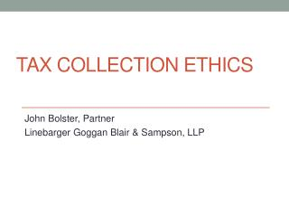 Tax Collection Ethics