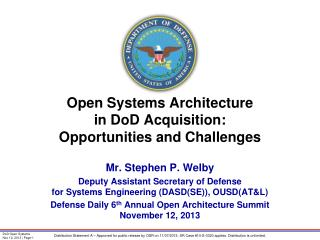 Open Systems Architecture  in DoD Acquisition: Opportunities and Challenges