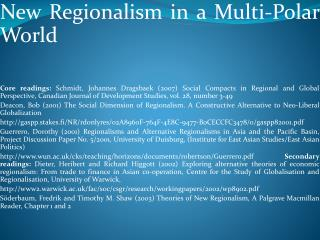 New Regionalism in a Multi-Polar  World