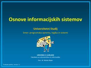 Osnove informacijskih sistemov