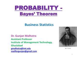 PROBABILITY - Bayes� Theorem