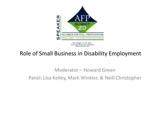Role of Small Business in Disability Employment