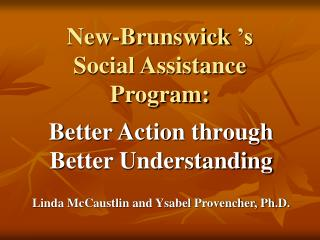 new-brunswick  s  social assistance program: